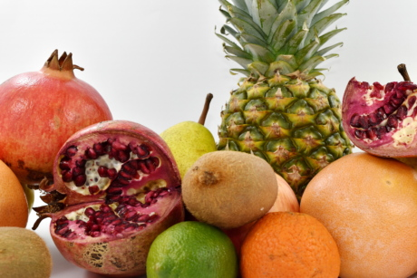 grapefruit, kiwi, pear, pineapple, pomegranate, fruit, produce, fresh, food, vitamin