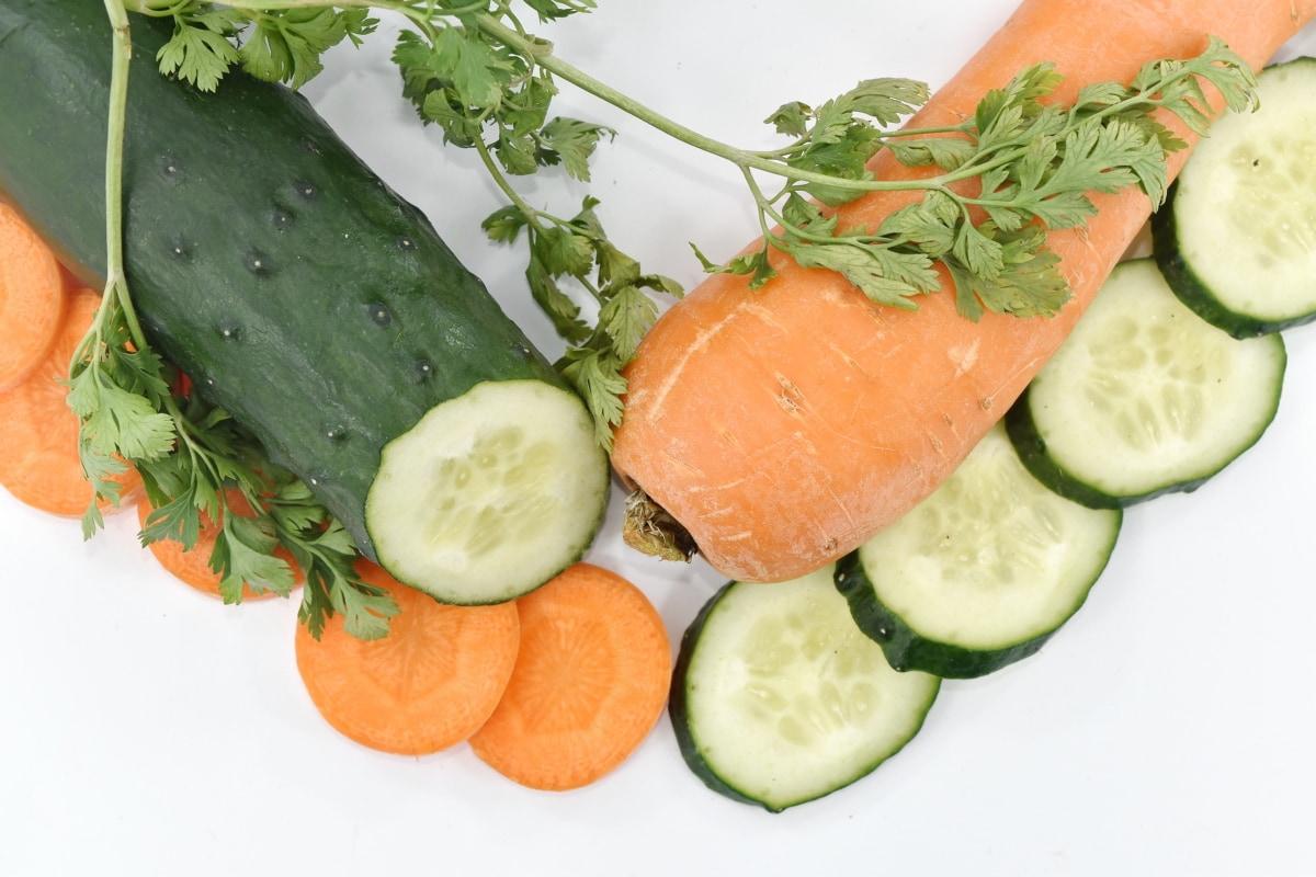 antioxidant, appetizer, carrot, cucumber, garnish, organic, parsley, vegan, vegetable, diet