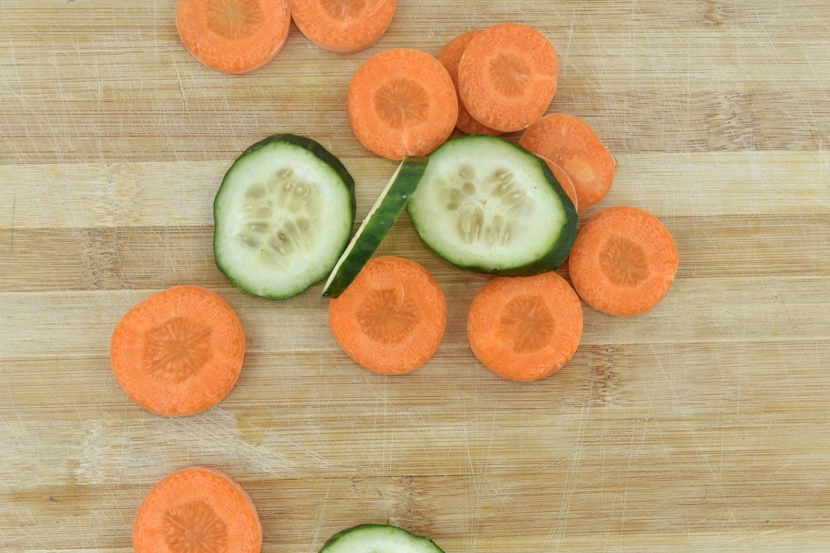 carrot, cucumber, culinary, kitchen table, slices, health, wood, fruit, board, wooden