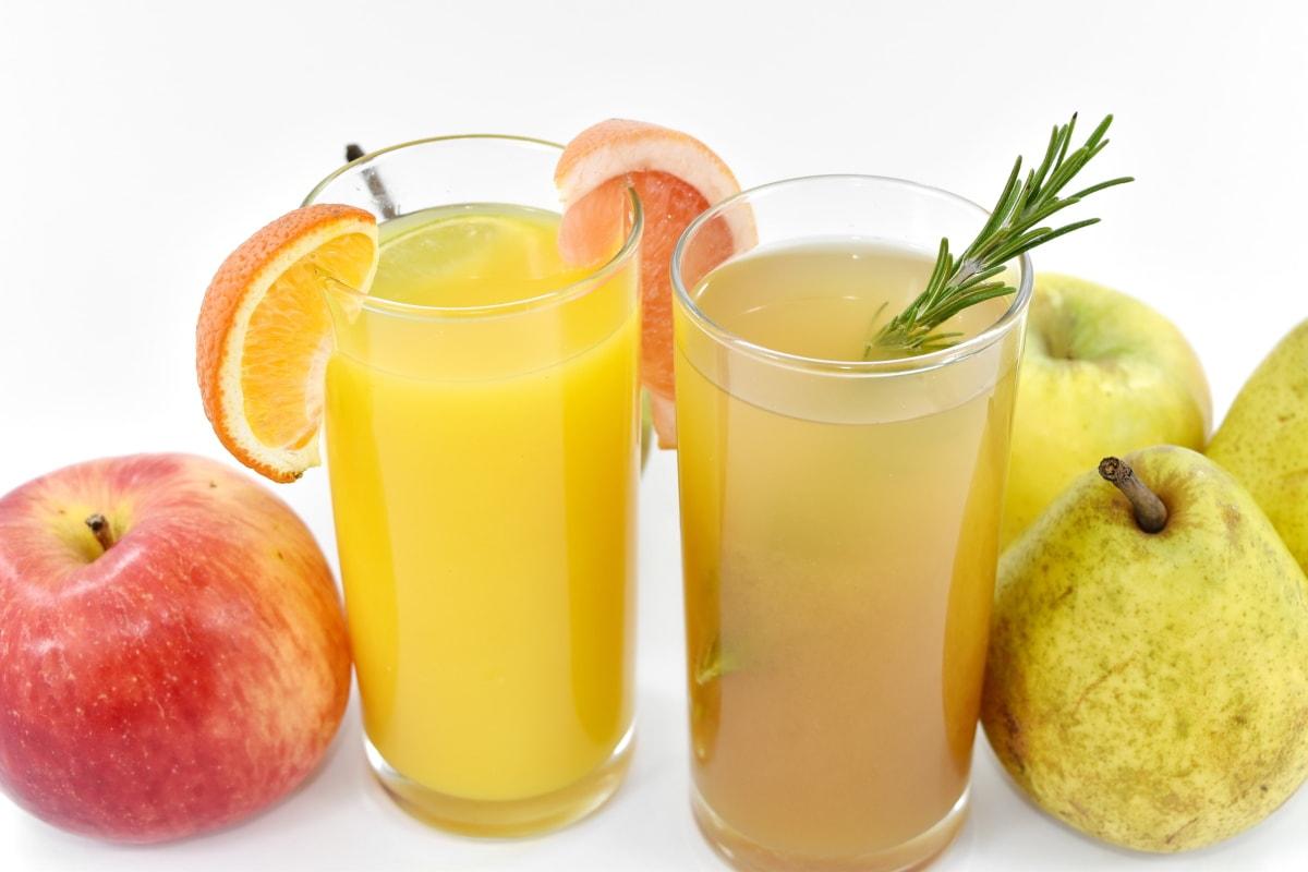 apples, citrus, fruit, fruit cocktail, fruit juice, lemonade, pears, juice, beverage, glass