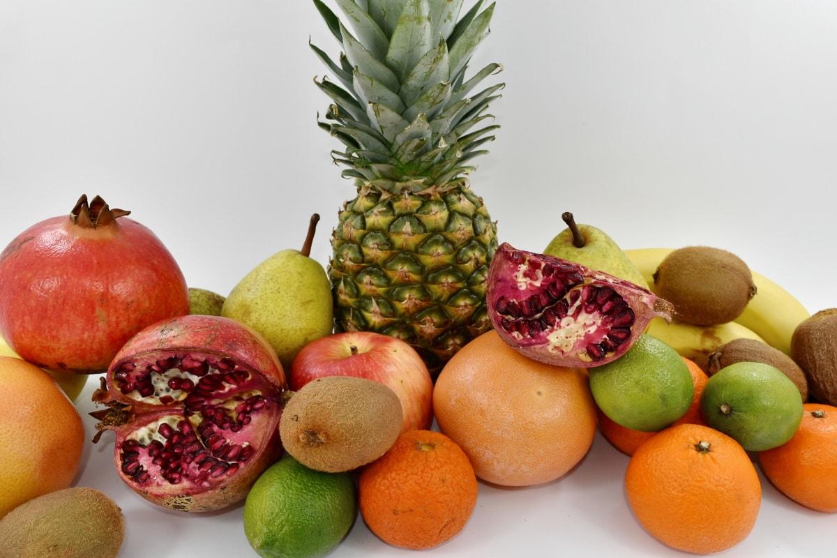 antioxidant, carbohydrate, citrus, exotic, fruit, mandarin, organic, pears, pineapple, pomegranate