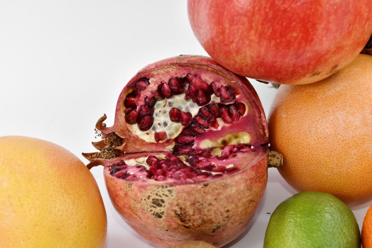 carbohydrate, citrus, fresh, fruit, grapefruit, lemon, organic, pomegranate, produce, health