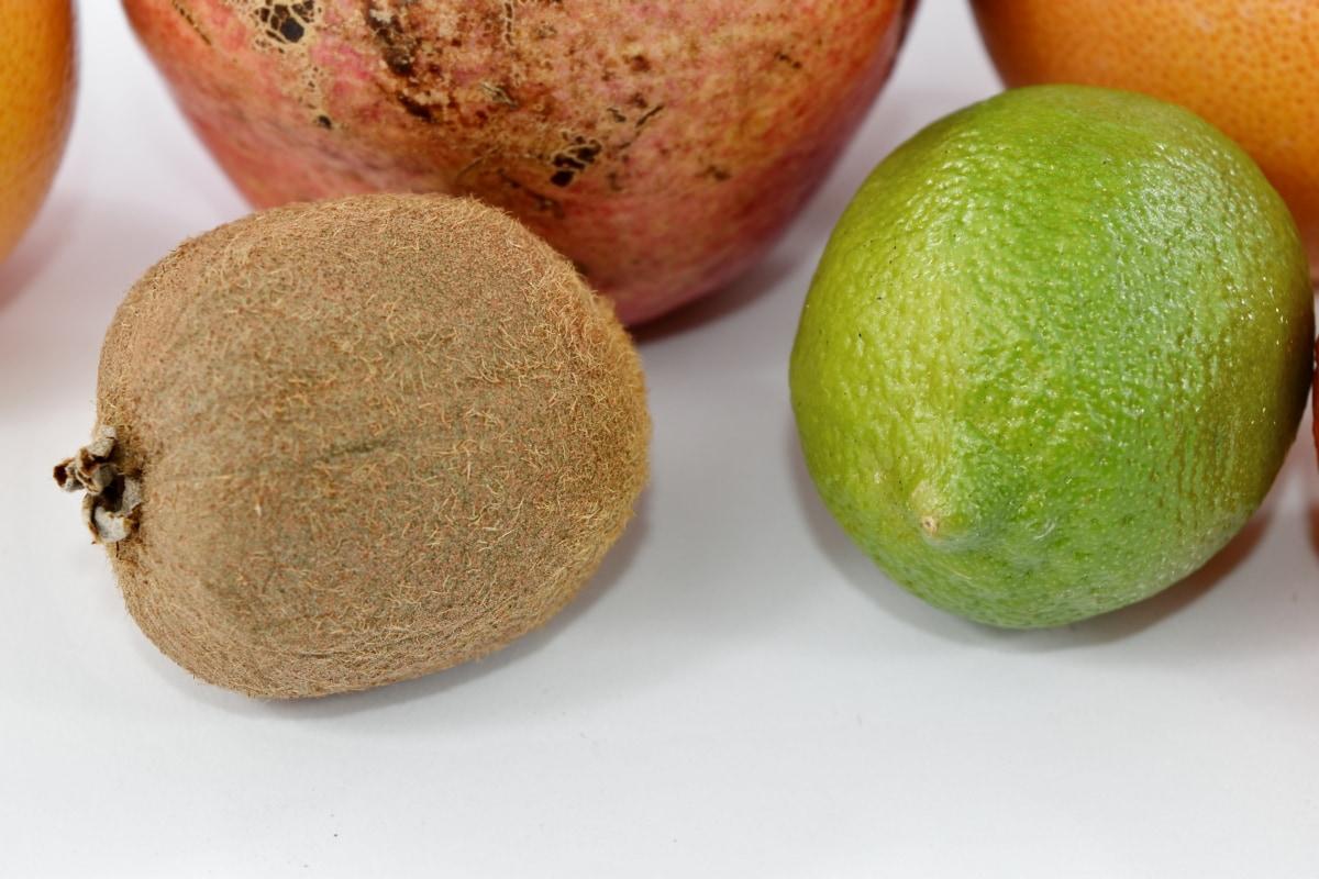 kiwi, lemon, pomegranate, fruit, citrus, food, health, nutrition, tropical, exotic