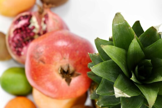 focus, green leaves, pineapple, health, produce, food, fresh, fruit, pomegranate, ingredients