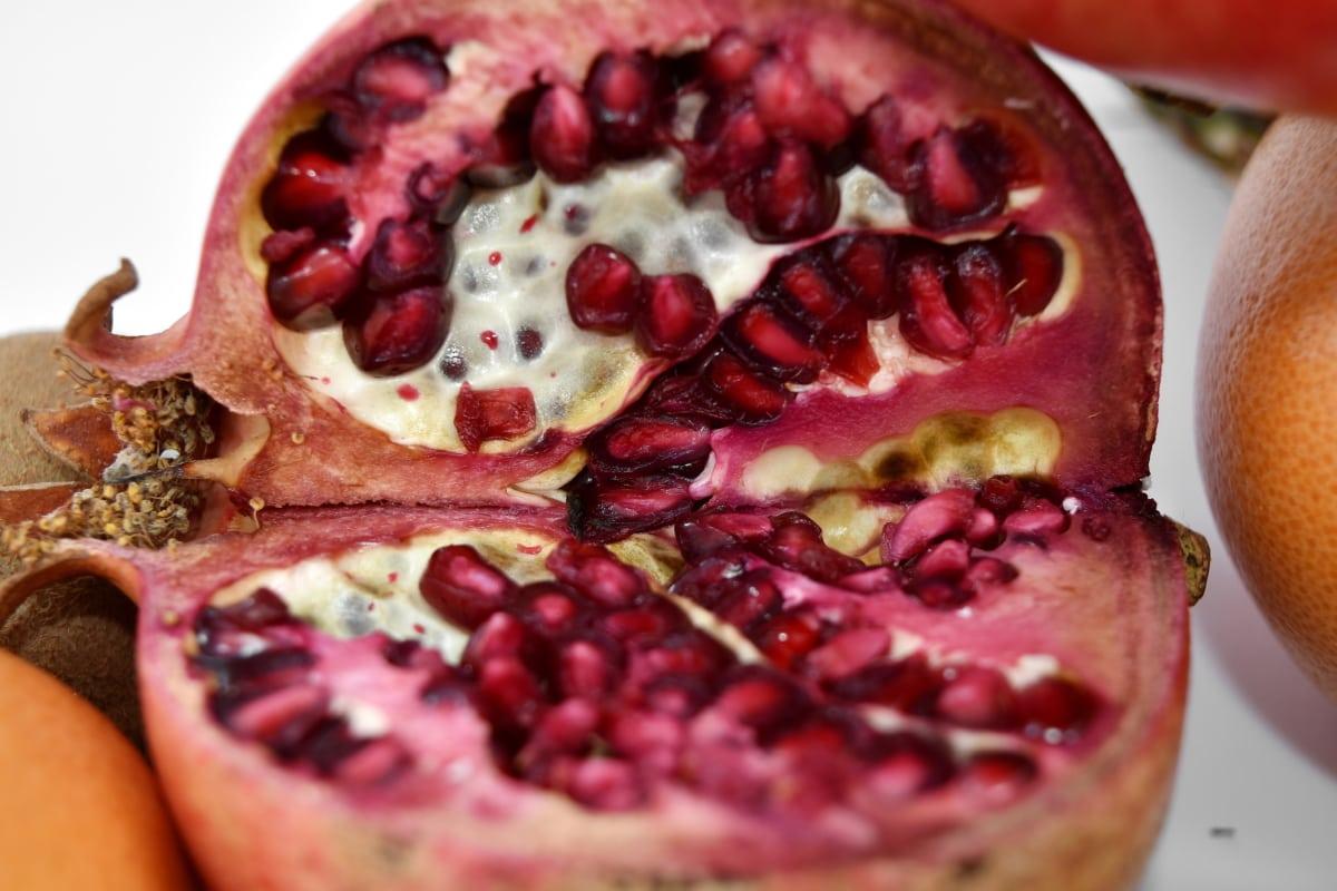 cross section, kernel, macro, pomegranate, food, fruit, sweet, produce, dessert, exotic