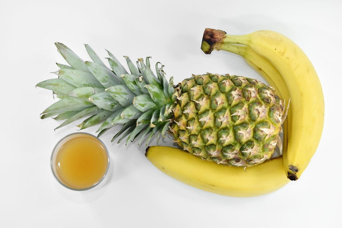 banana, fruit, fruit juice, pineapple, syrup, tropical, food, produce, nature, health