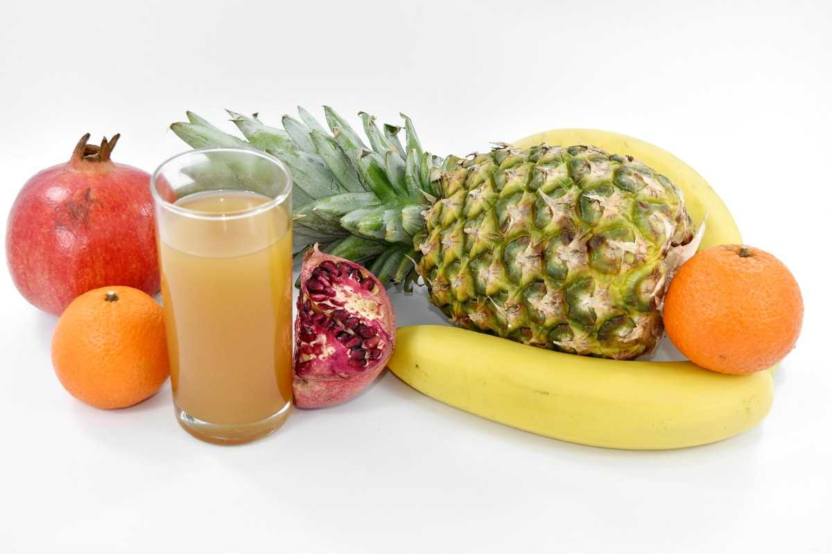 banana, breakfast, fruit cocktail, juice, pomegranate, syrup, tropical, fruit, vegetable, diet