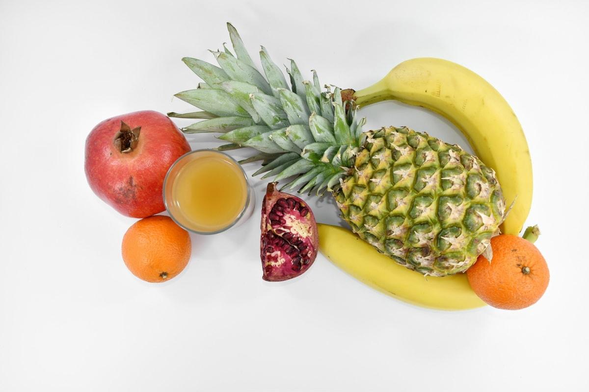 banana, exotic, fruit, fruit juice, pineapple, pomegranate, tangerine, vitamin, produce, food