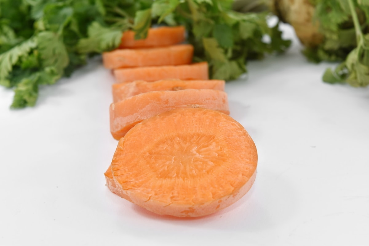 slices, healthy, food, carrot, health, ingredients, leaf, nutrition, root, vegetable