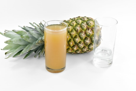 drinking, fresh water, fruit, fruit juice, glasses, pineapple, syrup, glass, drink, food