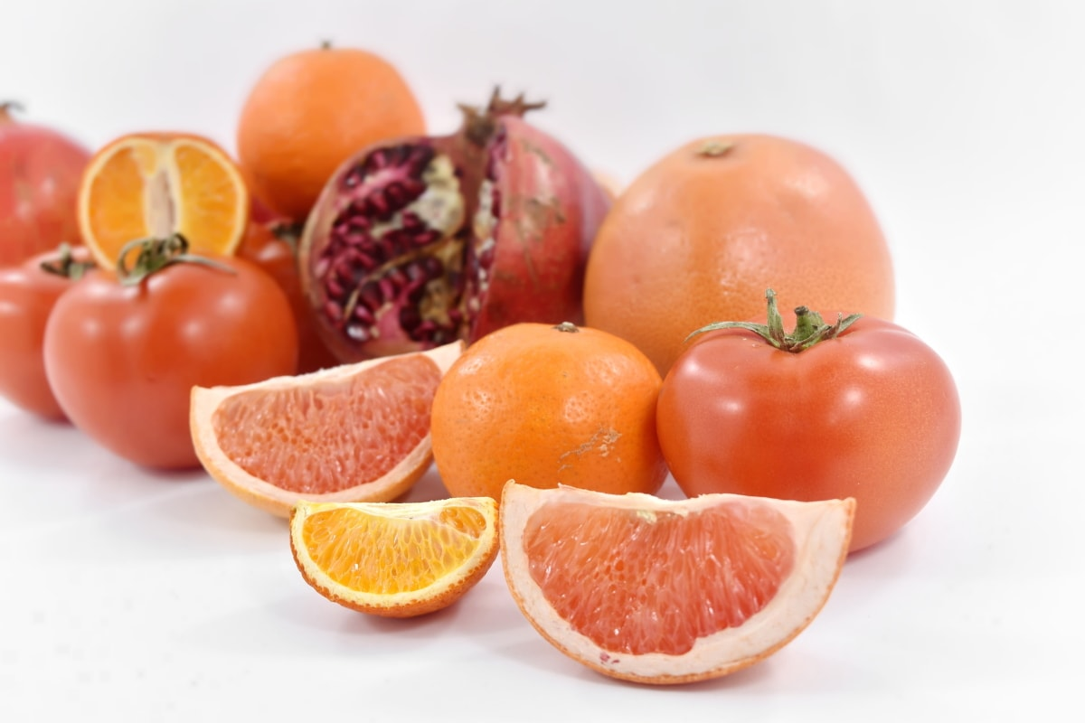 fruit, grapefruit, mandarin, orange peel, oranges, pomegranate, red, tangerine, tomatoes, vegetables