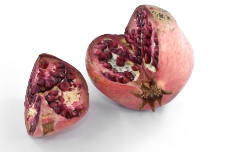 cross section, delicious, pomegranate, ripe fruit, seed, antioxidant, bright, culinary, dessert, diet