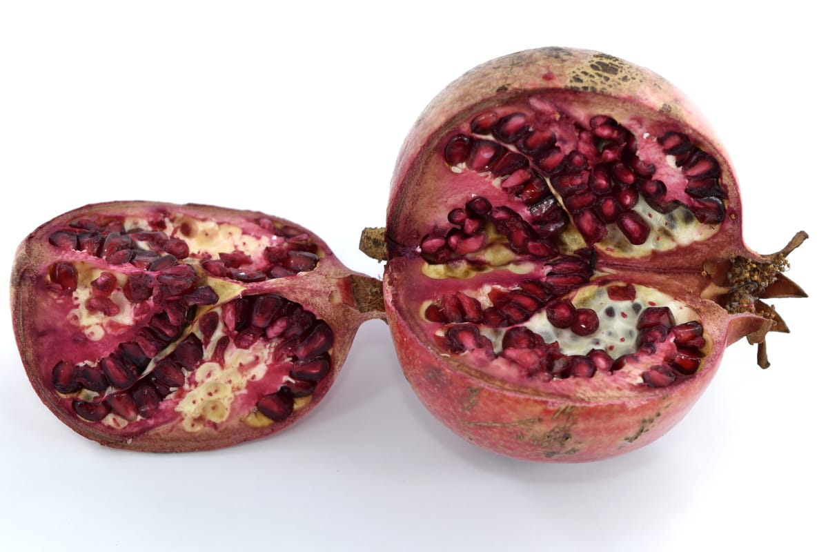 eating, pomegranate, ripe fruit, seed, fruit, exotic, food, tropical, health, half