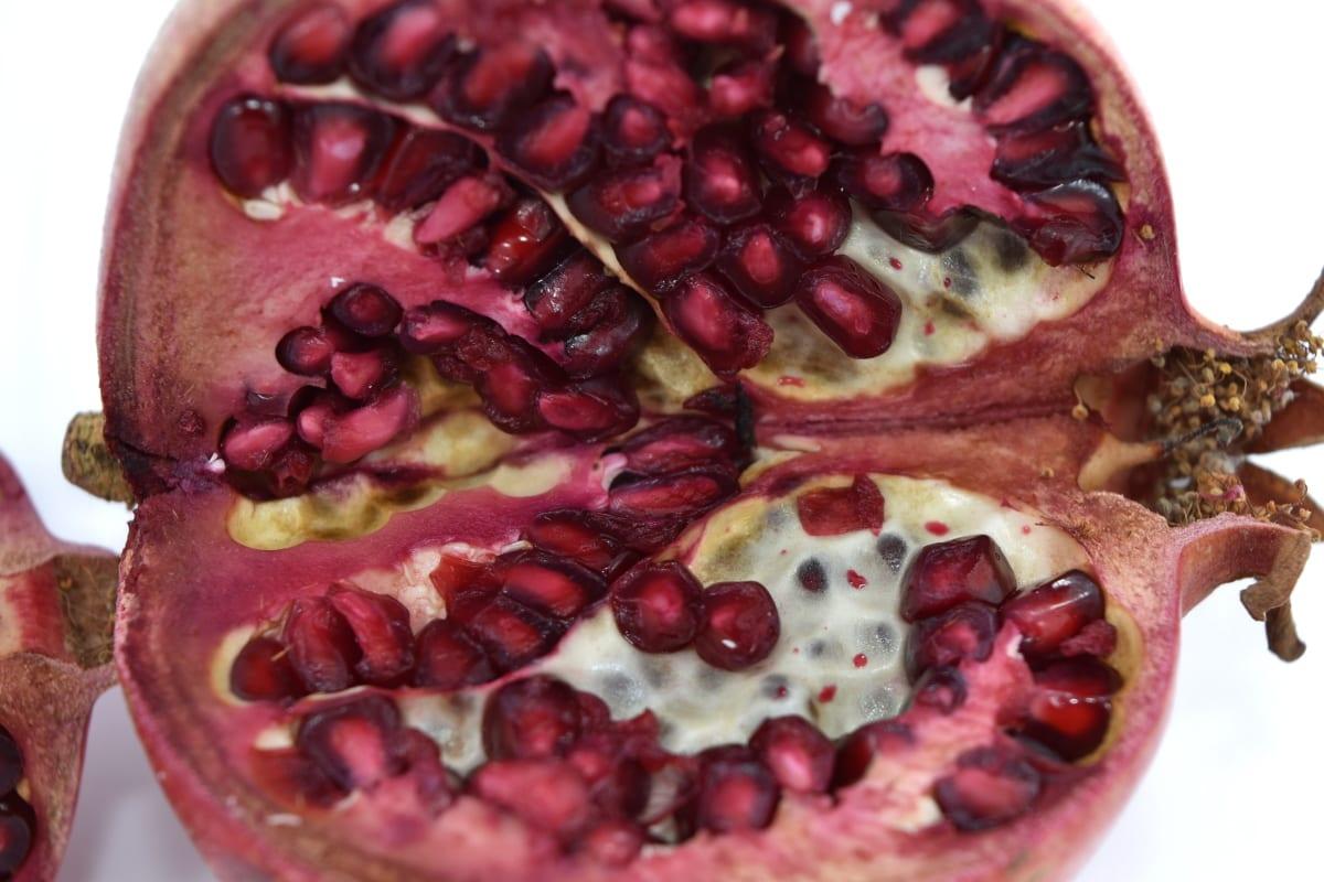 coupe transversale, Détails, noyau, macro, Grenade, rougeâtre, semences, fruits, doux, alimentaire
