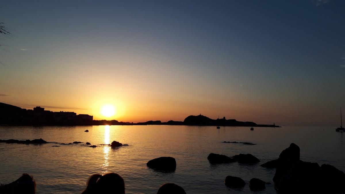 Bucht, Meer, Sonnenuntergang, Sterne, Dämmerung, Wasser, Sonne, Ozean, Dämmerung, Strand