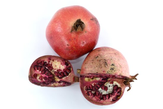 details, exotic, fruit, group, pomegranate, red, ripe fruit, healthy, produce, sweet