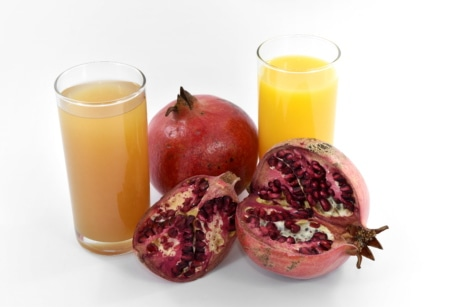 fruit juice, herb, organic, pomegranate, ripe fruit, fruit, juice, glass, food, drink