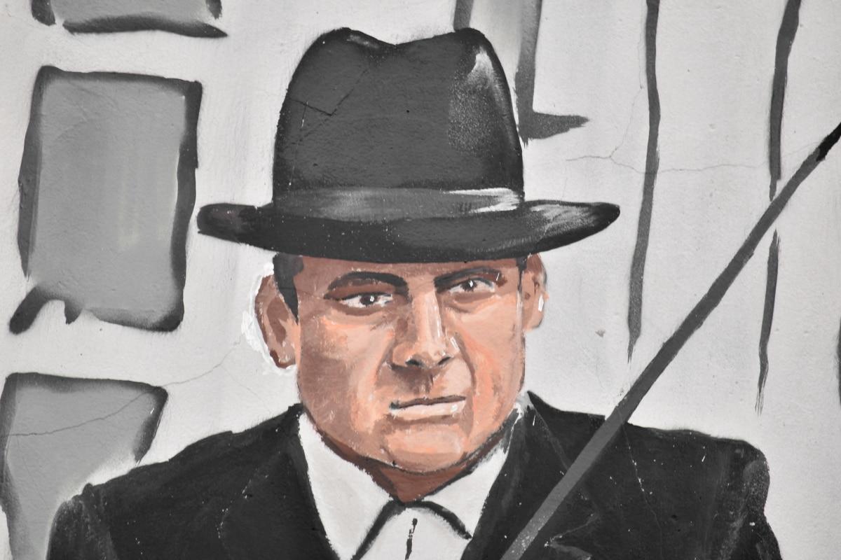 face, fine arts, graffiti, hat, man, old fashioned, portrait, street, wall, clothing