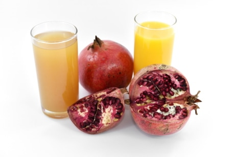 fresh, fruit cocktail, fruit juice, pomegranate, ripe fruit, seed, vitamins, drink, sweet, food