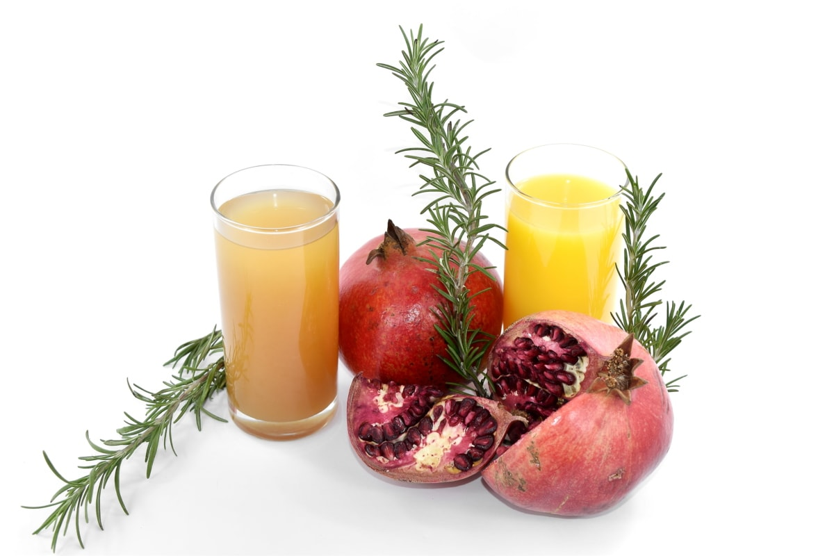 beverage, delicious, drink, fruit cocktail, fruit juice, pomegranate, rosemary, spice, twig, juice