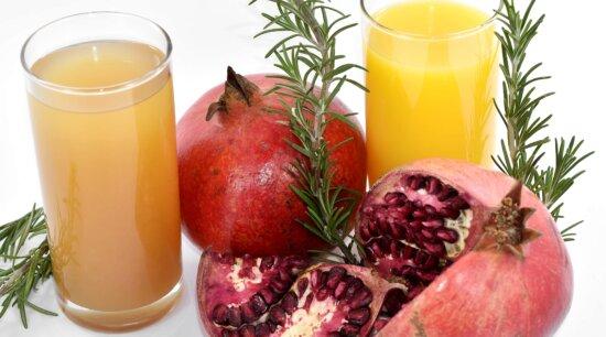 beverage, drink, fresh, fruit cocktail, fruit juice, pomegranate, rosemary, twig, fruit, food