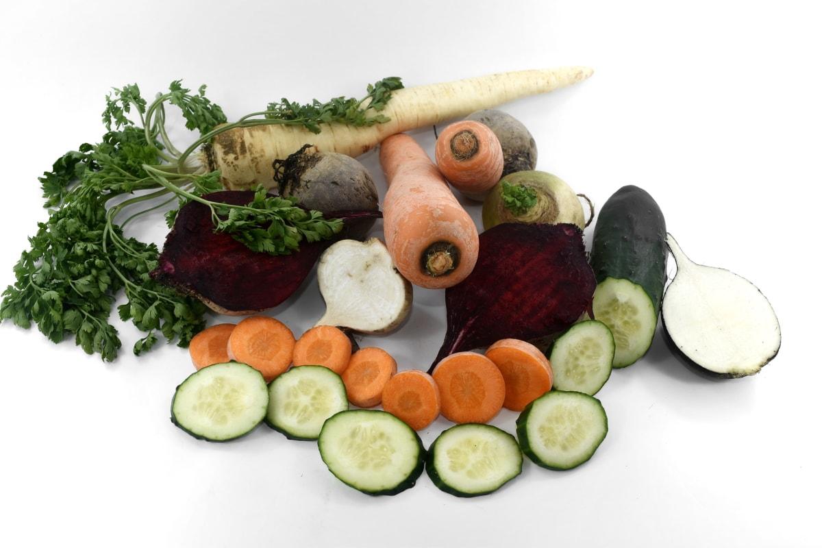 beetroot, carrot, cucumber, parsley, radish, salad, slices, turnip, diet, food