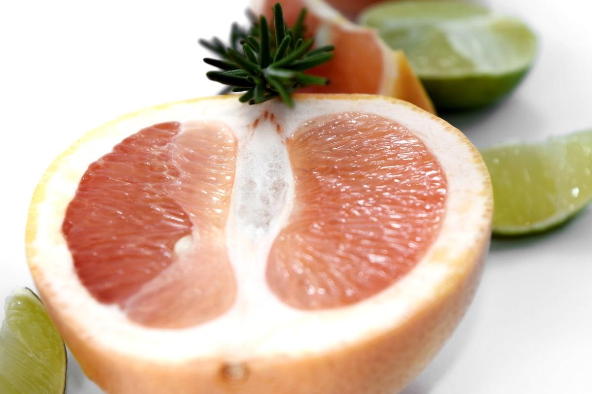 antioxidant, carbohydrate, delicious, fresh, grapefruit, lemon, mint, slices, twig, food