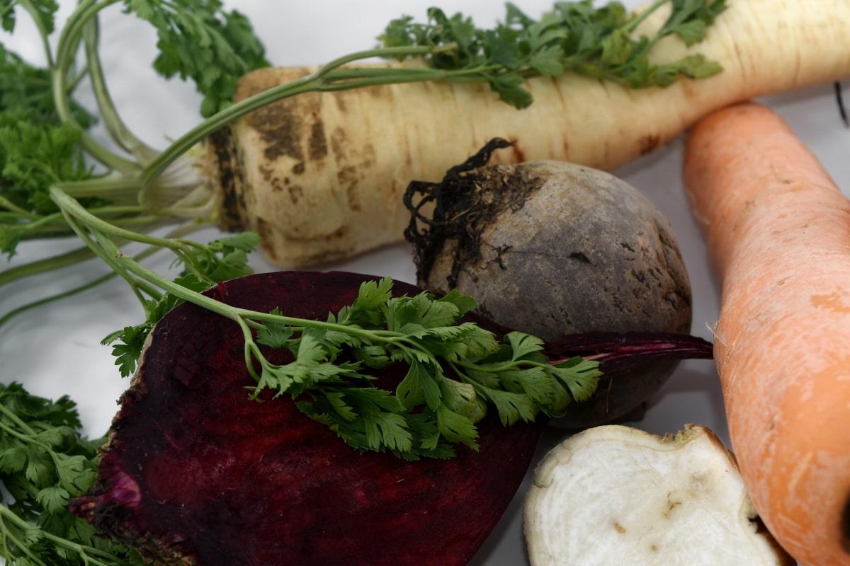 beetroot, fresh, green leaves, kohlrabi, parsley, roots, slices, food, vegetable, meal