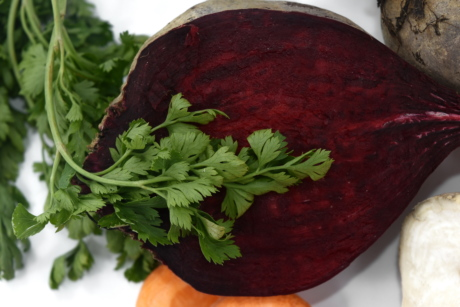 beetroot, cross section, green leaves, half, roots, food, herb, vegetable, fresh, parsley