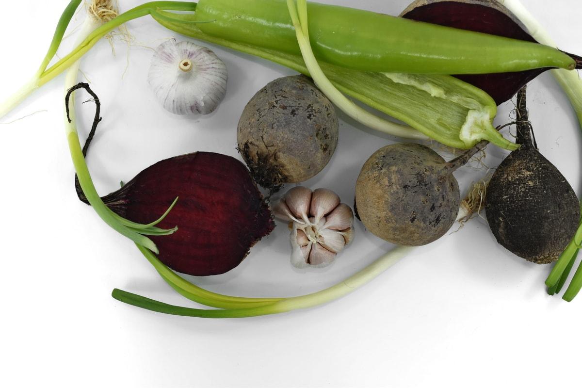 beetroot, garlic, leek, onion, radish, spice, vegetable, food, leaf, health