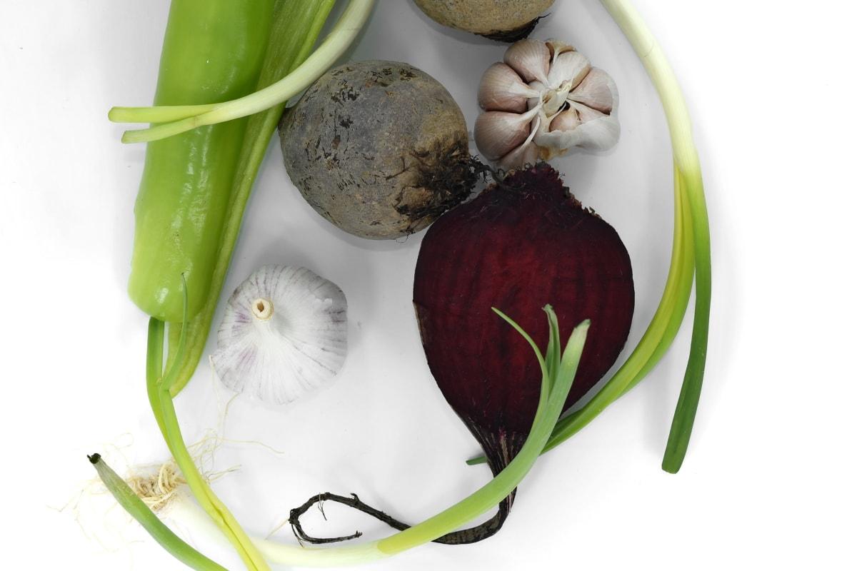 beetroot, garlic, leek, radish, food, vegetable, onion, vegetables, nature, leaf
