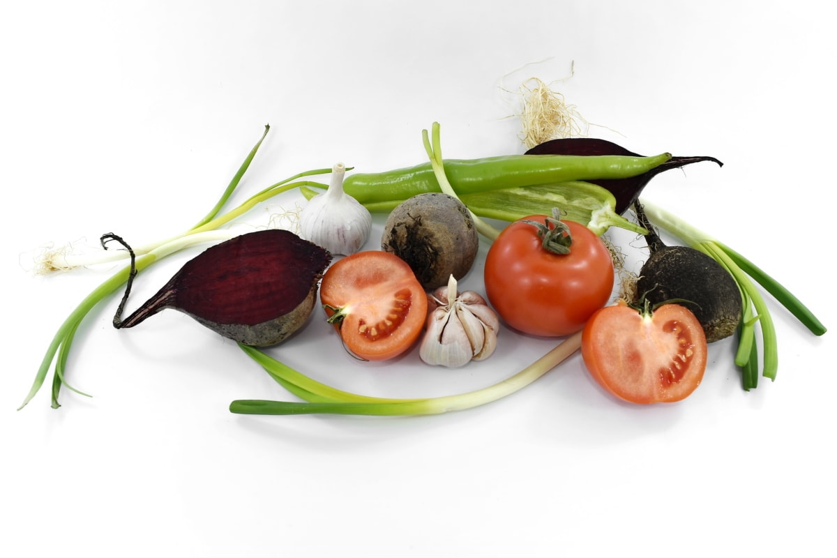 beetroot, garlic, leek, onion, radish, slices, tomatoes, vegetables, fresh, vegetable