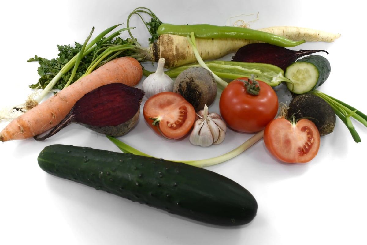 beetroot, cucumber, garlic, pepper, tomatoes, vegetable, diet, tomato, salad, vegetables