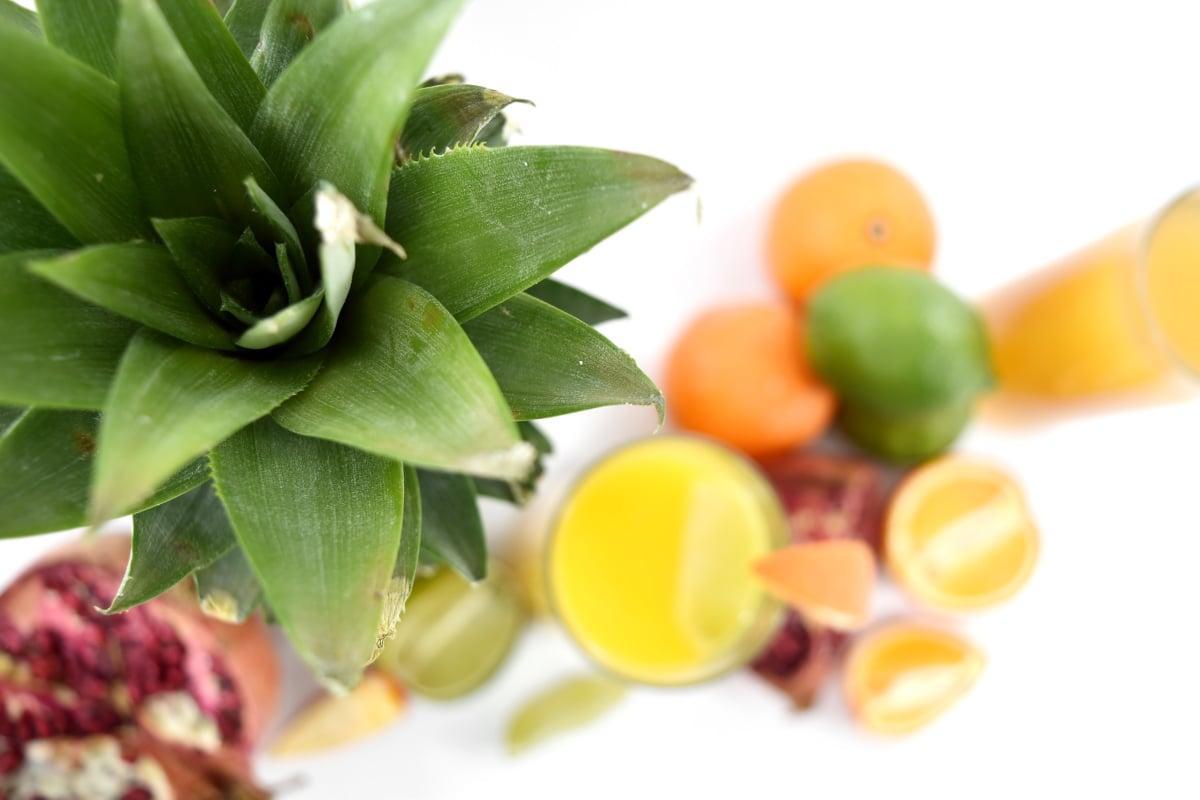 Citrus, gröna blad, ananas, välsmakande, färska, mat, kost, blad, hälsa, naturen