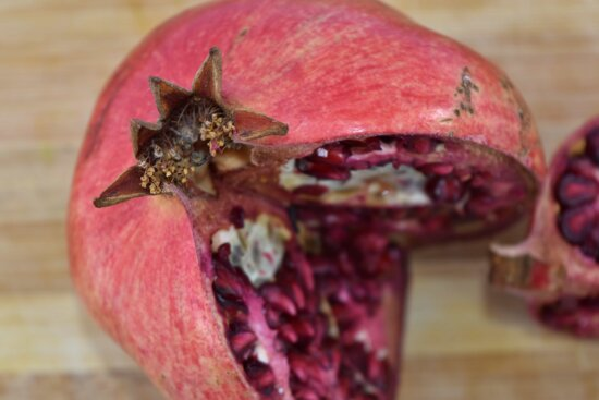 ripe fruit, food, pomegranate, fruit, wood, exotic, health, nature, nutrition, tropical