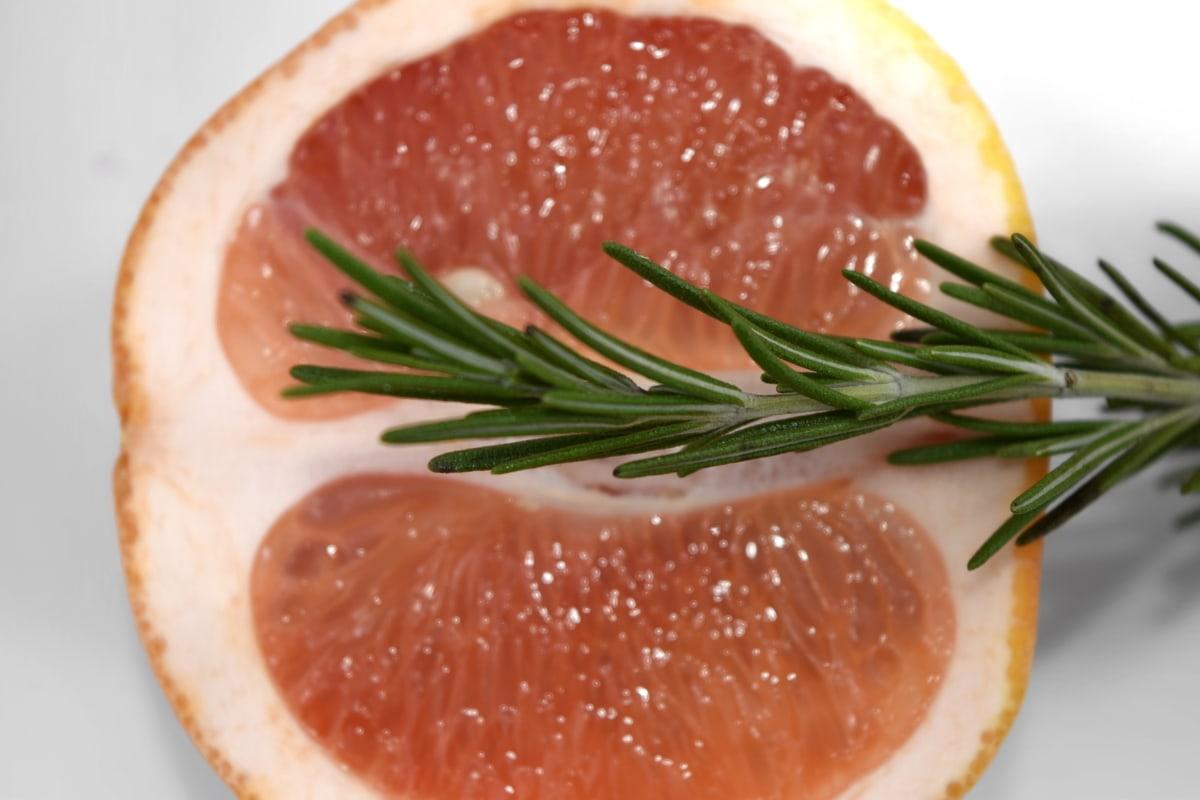 citrus, grapefruit, green leaves, half, herb, slice, spice, twig, food, meal