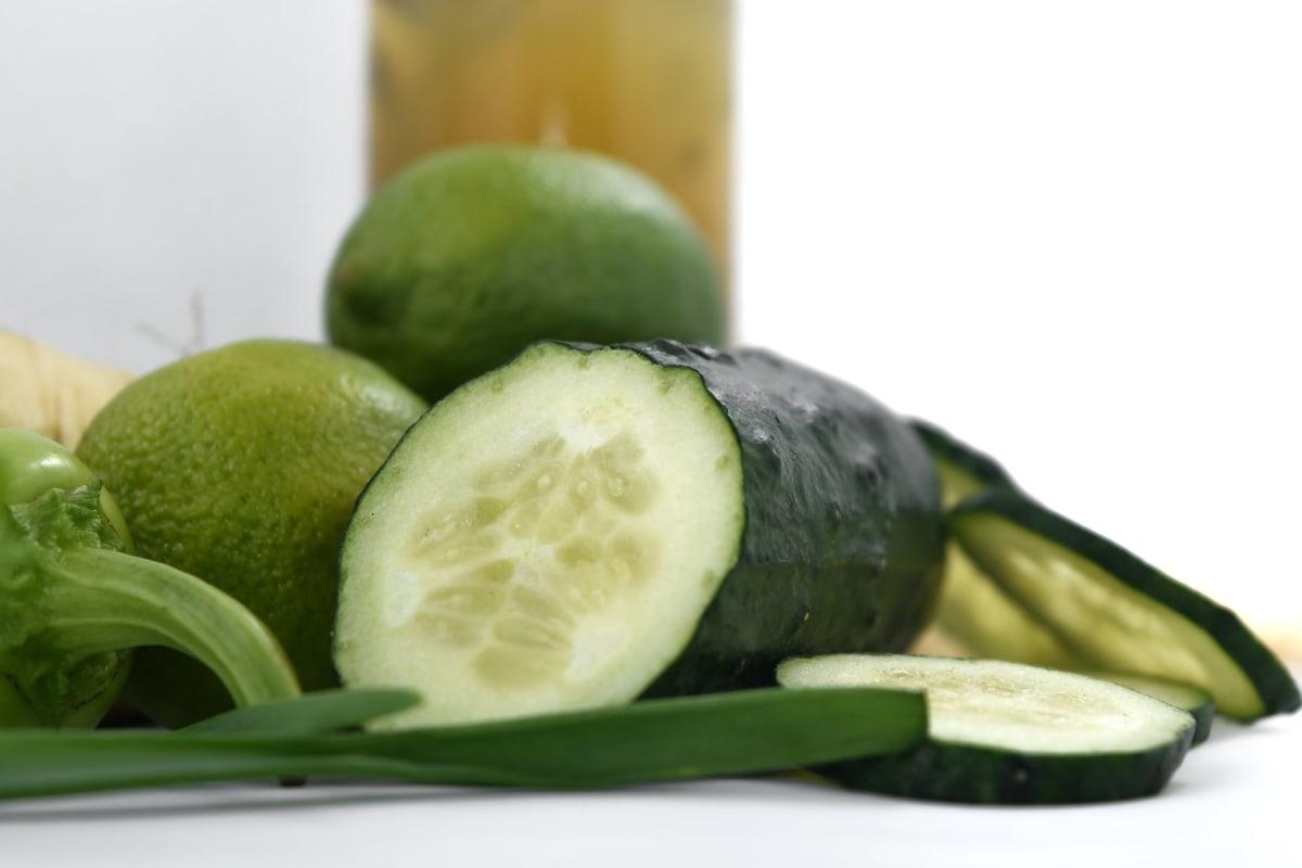 cucumber, dark green, key lime, leek, pepperoni, vegetable, health, food, diet, fruit
