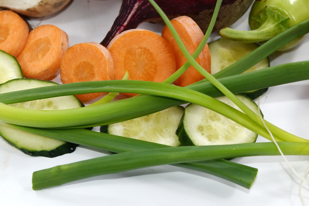 beetroot, carrot, chives, cucumber, culinary, kitchen table, leek, onion, pepperoni, turnip
