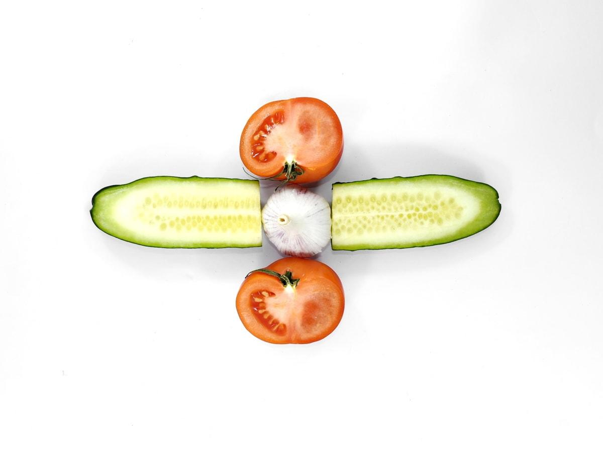 dưa chuột, tỏi, một nửa, lát, cà chua, khỏe mạnh, trái cây, chế độ ăn uống, thực vật, thực phẩm