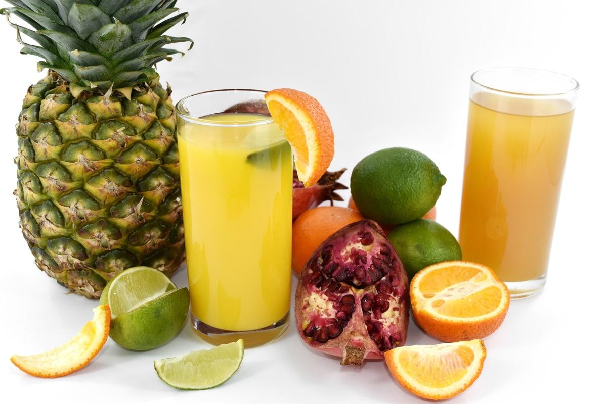 citrus, fruit cocktail, fruit juice, key lime, lemonade, pineapple, pomegranate, syrup, lemon, drink
