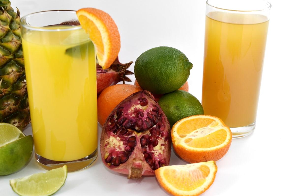 antioxidant, beverage, drink, fresh, key lime, orange, orange peel, pineapple, pomegranate, cold