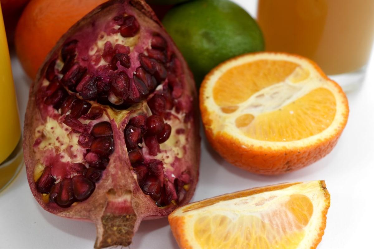enine kesit, çekirdek, mandarin, Nar, vitamini, narenciye, gıda, taze, Sağlık, Turuncu