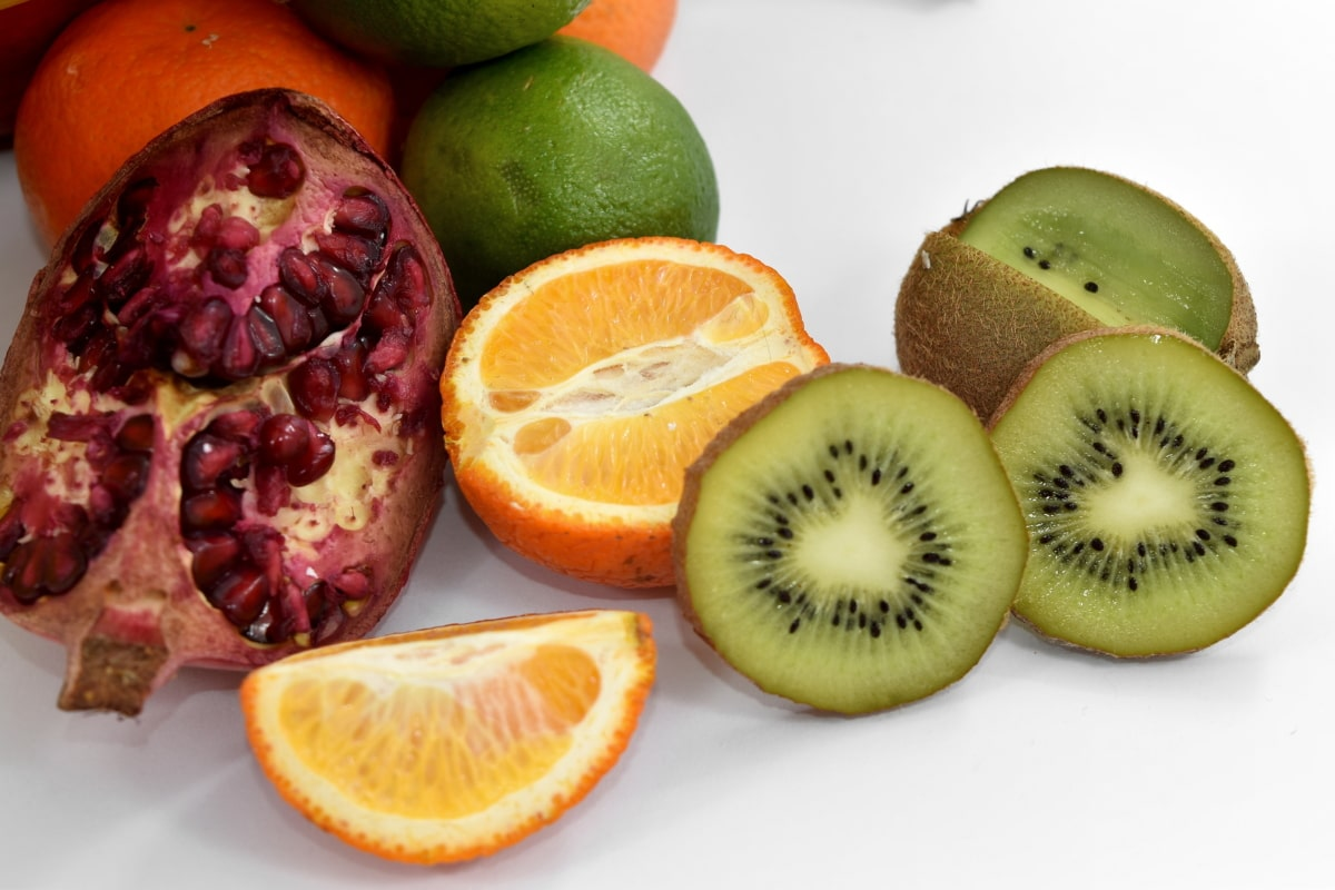 key lime, kiwi, mandarin, pomegranate, slices, fresh, citrus, vitamin, food, diet