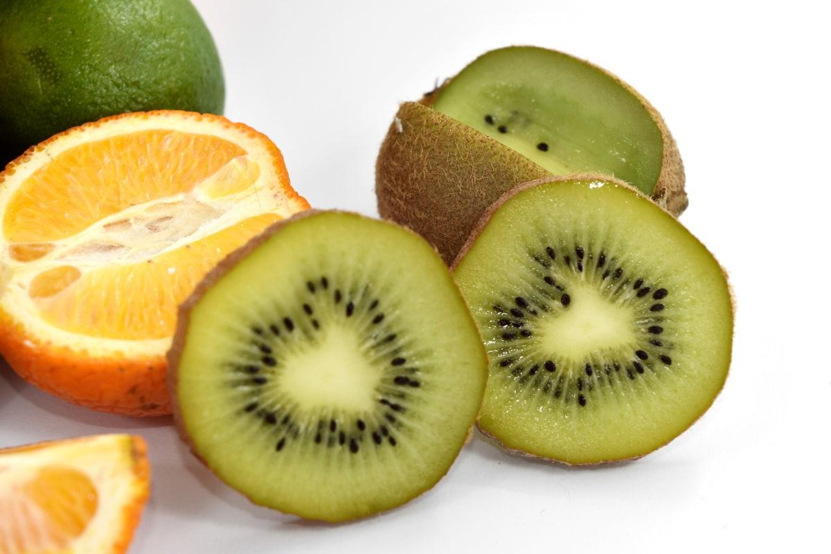 doorsnede, sleutel limoen, Kiwi, mandarijn, segmenten, vers, vrucht, dieet, vitamine, gezonde
