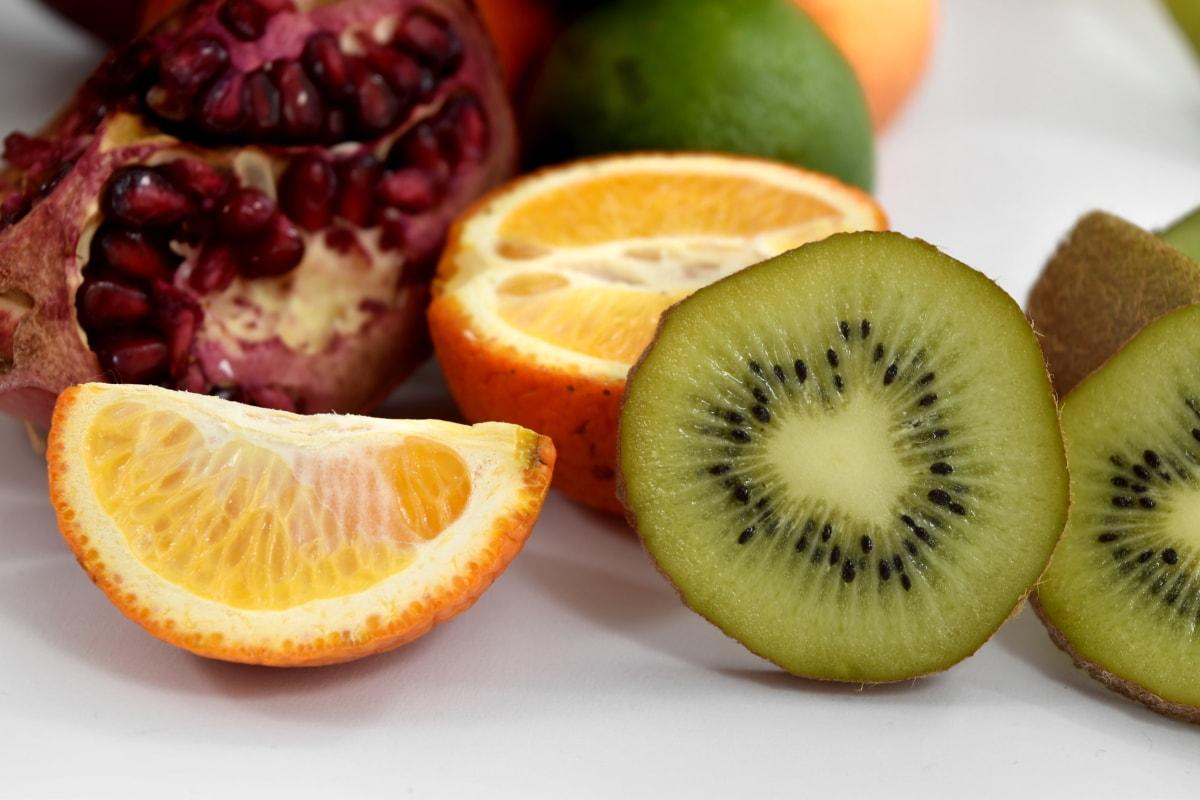 aroma, bite, citrus, fruit, kiwi, mandarin, pomegranate, diet, food, fresh