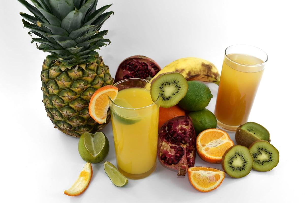 banana, bitter, citrus, fruit, fruit cocktail, key lime, liquid, oranges, pineapple, pomegranate