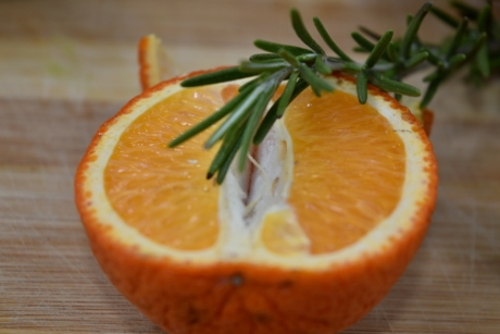 fresh, half, rosemary, slice, twig, orange, citrus, juice, fruit, mandarin