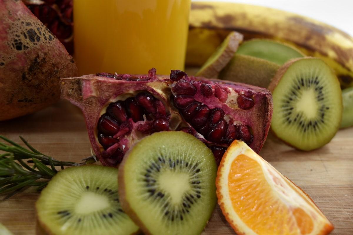 banana, kiwi, pomegranate, slices, diet, fruit, health, tropical, sweet, food