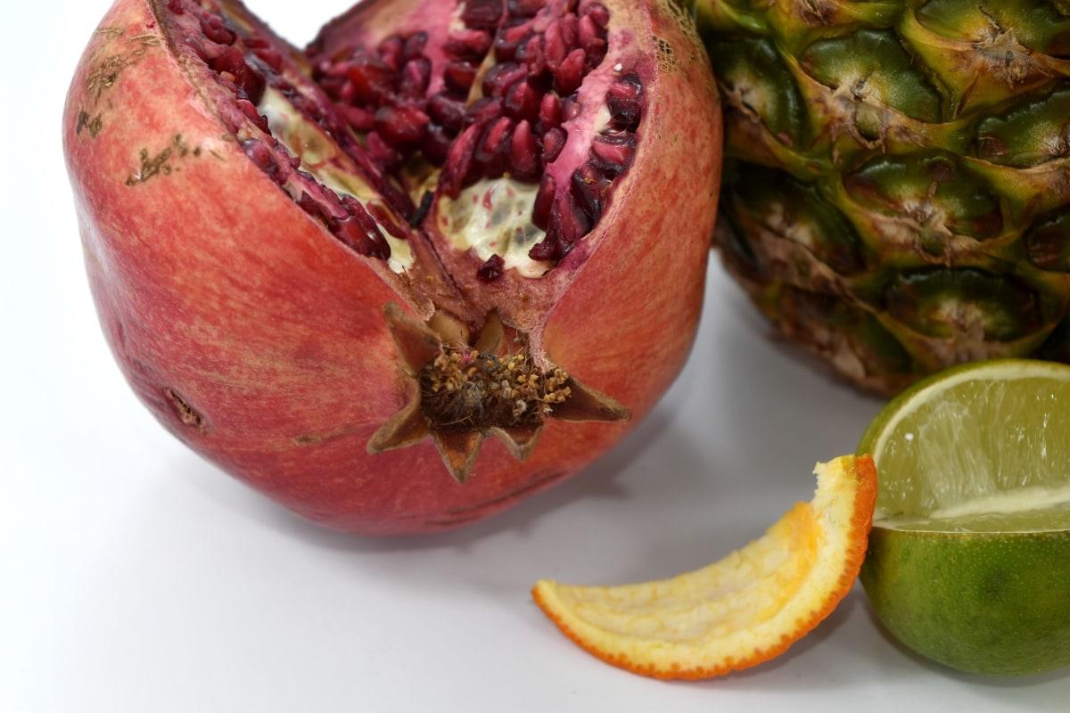 aromatic, kernel, key lime, orange peel, pineapple, pomegranate, products, fruit, food, produce
