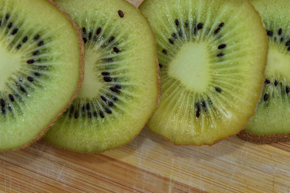 bitter, close-up, dark green, kiwi, seed, slices, tasty, fruit, vitamin, diet